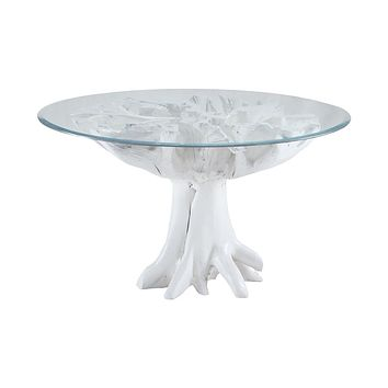 White Teak Root Entry Table