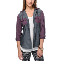 Empyre Exeter Confetti Black Chambray Hooded Shirt