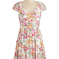 ModCloth Mid-length Cap Sleeves A-line Cultivate Character Dress