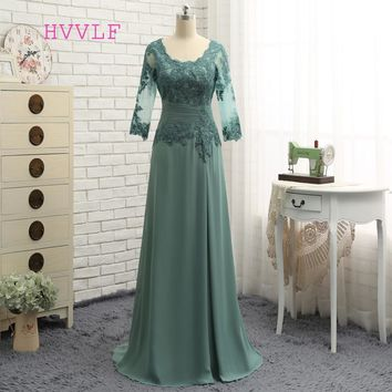 Plus Size Green 2018 Mother Of The Bride Dresses A-line V-neck Chiffon Lace Wedding Party Dress Mother Dresses For Wedding