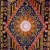 TrippyStore.com - Red And Golden - Celestial - Tapestry