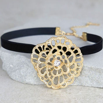 Palmyra Black and Gold Rhinestone Choker Necklace