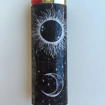 Sun & Moon custom BIC lighter
