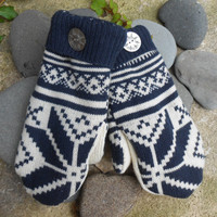 Sweater Mittens, made from upcycled recycled sweaters, in shades of navy and white snowflake design, fleece lined, so warm