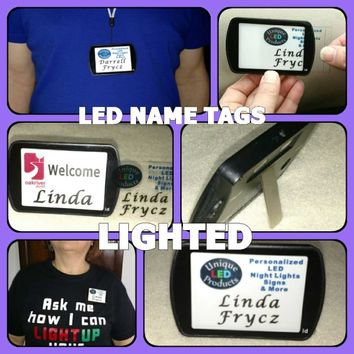 Rechargeable Lighted Illuminated Name Tags / Badges