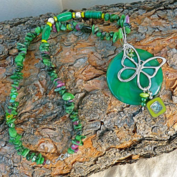 Green Agate, Malechite, Ruby in Fuschite and Sterling Butterfly Necklace, statement necklace, Czech glass, gift for mom