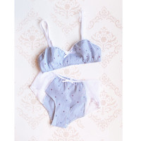 Nautical 'Adrift' Anchor Print Lingerie Lounge Bra & Panties Set Handmade to Order