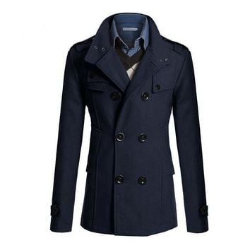 Mens Double Breasted Peacoat Coat Jacket