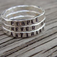 Made to order- ONE fine silver stacker ring- hand stamped with your choice of phrase-words