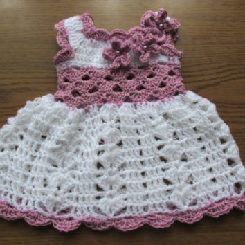 Crochet baby dress in white purple