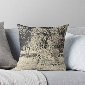 'Stripes and tiles, it is a wildlife' Throw Pillow by sexyjustsexy