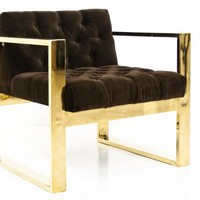 www.roomservicestore.com - Brass Kube Chair in Chocolate Velvet
