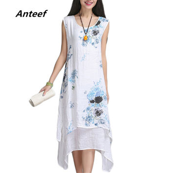New fashion summer style cotton linen plus size vintage print women casual loose dress vestidos femininos party  dresses