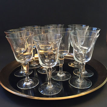 Crystal Cocktail Glasses, Etched Atomic Starburst Cordial Glasses, Vintage Cocktail Glasses