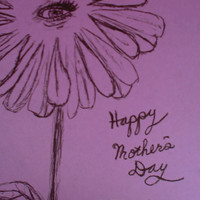 Mother's Day Card For Mom Print of a Hand Sketched Flower Card Happy Mother's Day Notecard