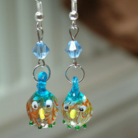 Hand made earring/wise old owl earring/glass earrings/summer pretty earrings handmade/handblown glass