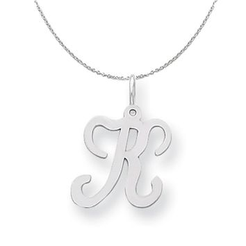 Sterling Silver, Sophia Collection, Small Script Initial K Necklace
