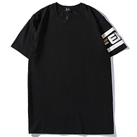 Fendi 2019 new cuff letters embroidered short-sleeved casual half-sleeved T-shirt Black