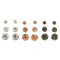 Women's Girl's Assorted Multiple Stud Earring 9 Pair Sets Multi Pack
