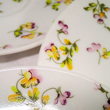 Vintage Martha Stewart Yellow and Purple Pansies set of 4 saucers, purple and yellow pansies on white milk glass