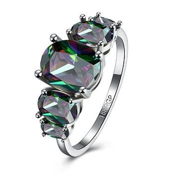 Five Stone Mystic Fire Topaz 18K White Gold Plated Ring