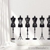 6 Dress Forms / Mannequin Decor Wall Decal: Sewing Decor, Sewing room, Sewing Wall Decal, Vinyl Wall Sticker
