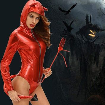 Women Cosplay Costume Demon Devil Hooded Bodysuit Rompers Sexy Party Cosplay Role Play Jumpsuit Playsuit Adult Costume Red Macchar Cosplay Catalogue