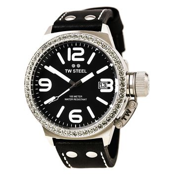 TW Steel TW37 Women's Canteen Black Dial Black Leather Strap Swarovski Crystal Watch