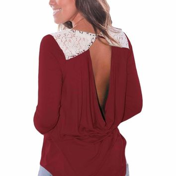 Claret Lace Shoulder Low Cut Back Top