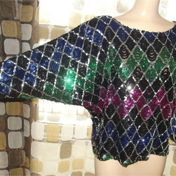 Vintage 70s 80s Harlequin Sequin Slouchy Batwing Trophy Top L Large Disco Chic Blouse