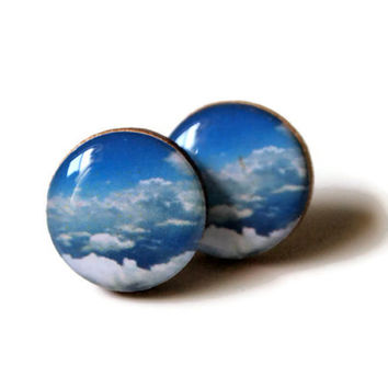 Pretty Cloud Earrings - resin jewelry nature blue clear skies eco chic wood unique small medium large stud posts FREE shipping to USA