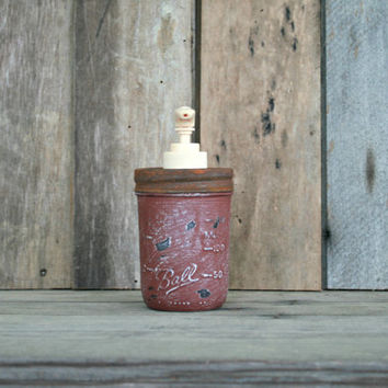 Mason Jar Soap Dispenser - Annie Sloan Chalk Paint Primer Red - Rustic, Country, Shabby Chic, Farmhouse, Vintage Style