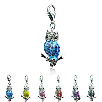 Fashion Lobster Clasp Charms Dangle 6 Color Rhinestone Owl Charms Animals DIY Pendant Jewelry Accessories Free Shipping