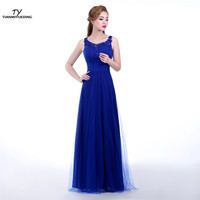 Evening Long Dress 2017 Royal Blue Vestido De Noche Largo Beaded Cheap Party Evening Gowns Women Formal Robe De Soiree