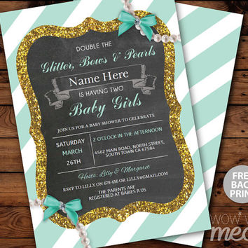 Double The Glitter It's Twins Girls Baby Shower Invite INSTANT DOWNLOAD Pearls Babies Mint Invitation Personalize Editable Printable Party