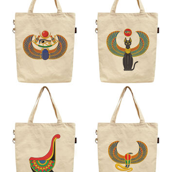 Women Ancient Egyptian Symbol Printed Canvas Tote Shoulder Bag WAS_40