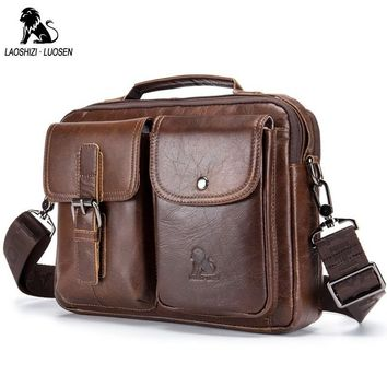 LAOSHIZI LUOSEN Genuine Leather Men Shoulder Bag Handbag Vintage Cowhide Crossbody Bag Tote Business Casual Men Messenger Bag