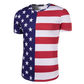 New Fashion Independence Day American Flag Pattern Print 3D T-shirt Casual Short Sleeve O-neck Male t shirt Instagram Clothing