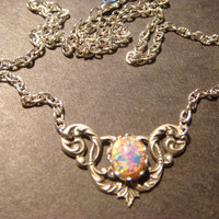 Victorian Style Fire Opal Necklace in Antique Silver (606)