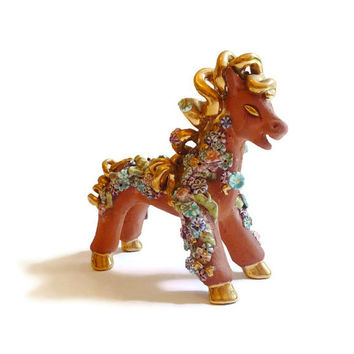 1940s Handmade Terra Cotta Horse with Porcelain Flowers