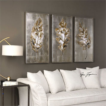 Uttermost Silver Leaves Modern Art S/3
