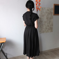 summer black linen midi-length wrap dress with petal sleeve