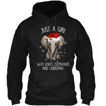 Just a girl who loves elephants and christmas Pullover Hoodie 8 oz