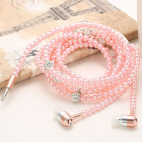 Fashion Wired Bling Jewelry Pearl Necklace Earphones Microphone Handsfree 3.5mm Pink Earphone For IOS Android Phone Accessories
