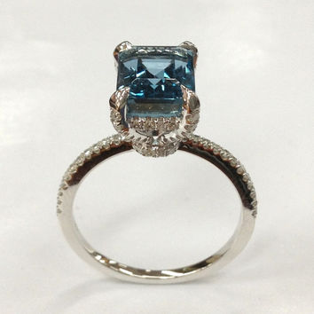 7x9mm London Blue Topaz Engagement Ring 14K White Gold!Diamond Wedding Bridal Ring,Emerald Cut VS Natural Gemstone,Custom Unique Design made