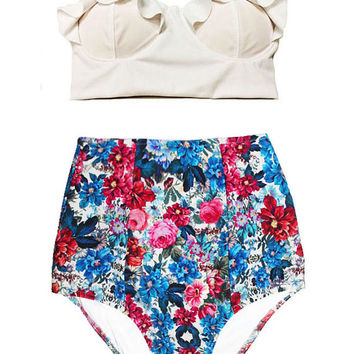 White Midkini Top and Flora Floral Print High-waist Waisted Waist Bottom Swimsuit Swimwear Swimdress Bikini 2PC Swim Bathing suit wear S M L