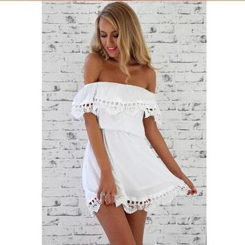Summer Women Dress Off Shoulder Style Sexy Party Dress Ladies Tops Loose White Shawl Short Sleeve Vestidos Plus Size designer clothes