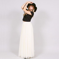 Sheer White Maxi Skirt - High Waist - Rogue:Minx