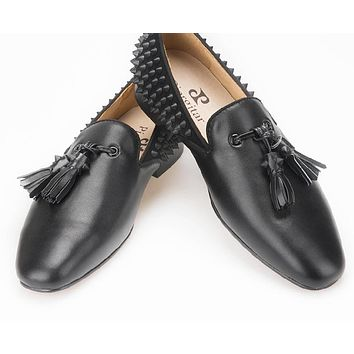 Handmade Men's Luxury Loafer Leather Vamp with Spikes Leather Tassels and Suede Spikes Counter Party and Prom Fashion men flats