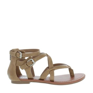 Strappy 2 Buckle Gladiator Sandal (TAUPE)